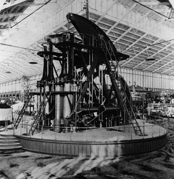The Corliss steam engine generated all the energy used in Machinery Hall at the Centennial Exposition in Philadelphia, 1876. Library of Congress, Washington, D.C.